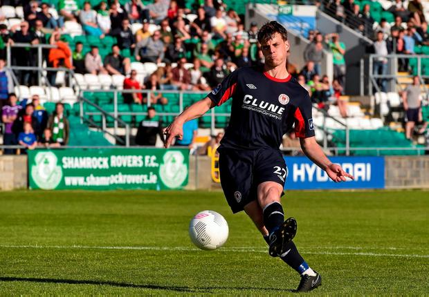Ian Morris strikes home the winnng penalty at Tallaght Stadium to earn St Patrick's Athletic a spot in the EA Sports Cup final.