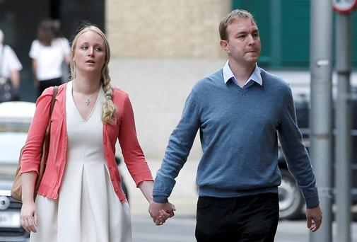 Former trader Tom Hayes arrives at Southwark Crown Court with his wife Sarah.