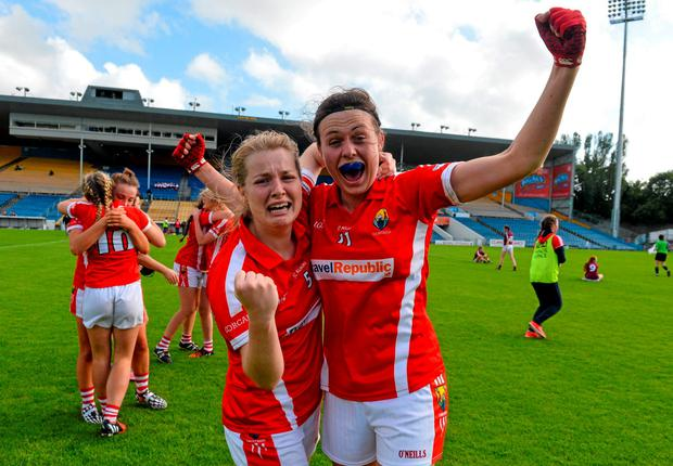Cork's Aisling Kelleher, left, and Hannah Looney celebrate following their side's victory over Galway in the MFC final