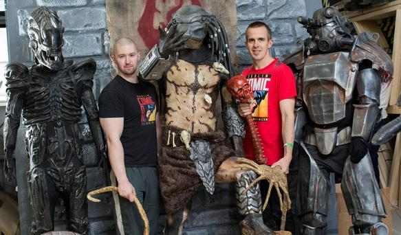 Karl Walsh (left) and Derek Cosgrave, organisers of Dublin Comic Con, with some of their costumes Photo: Fergal Phillips