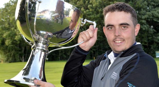 Alan Lowry (Esker Hills) with the 2015 Mullingar Electrical Scratch trophy after his victory at Mullingar Golf Club (03/08/2015). Picture by Pat Cashman