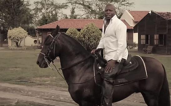 Horsing about: Faustino Asprilla has got his prized horse Luca back Photo: YOUTUBE