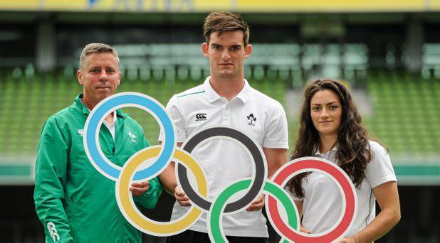 Director of Sevens Rugby Anthony Eddy, left, Tom Daly and Lucy Mulhall, right