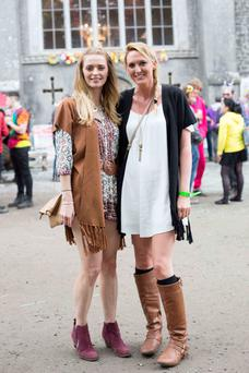 Marie Coughlan Malahide and Aoife Mullaney Portmarnock at the Castlepalooza Vodafone Centre Stage recharge the 90's dress up day were. Photo by Richie Stokes