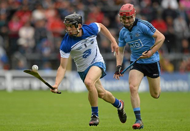 26 July 2015; Jamie Barron, Waterford, in action against Niall McMorrow, Dublin. GAA Hurling All-Ireland Senior Championship, Quarter-Final, Dublin v Waterford. Semple Stadium, Thurles, Co. Tipperary. Picture credit: Piaras ? M?dheach / SPORTSFILE