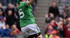Tomas Corrigan celebrates after scoring against Dublin in Croke Park.