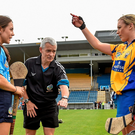 Clare captain Kate Lynch wins the coin toss at the start of Saturday's senior camogie play-off, but it was Rachel Noctor and her Dublin team-mates that emerged triumphant – advancing to play Wexford just two days later