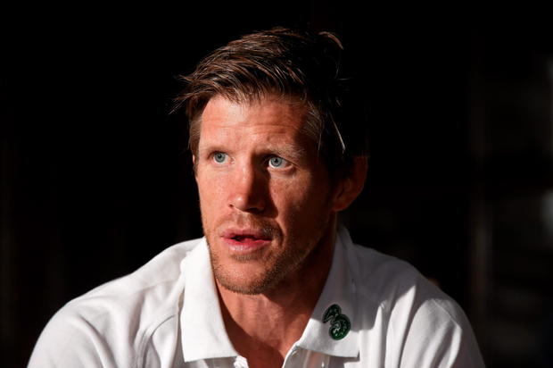 Ireland forwards coach Simon Easterby at yesterday's Irish press conference at Carton House, Maynooth.