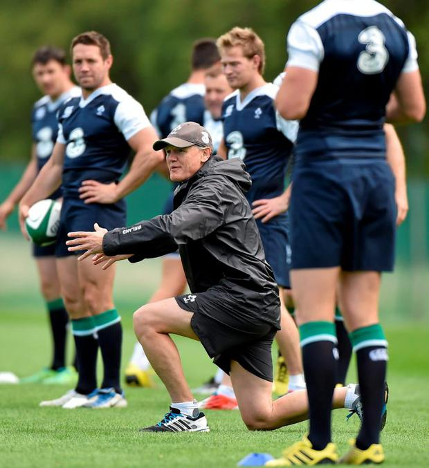 Head coach Joe Schmidt puts Ireland players through their paces at Carton House ahead of their first World Cup warm-up match against Wales on Saturday MATT BROWNE / SPORTSFILE