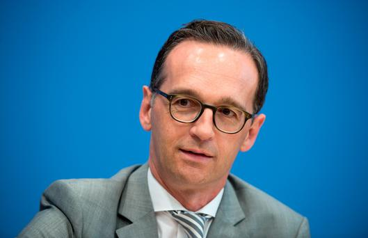German Justice Minister, Heiko Maas , attends a news conference in Berlin (Bernd von Jutrczenka/dpa via AP,file)