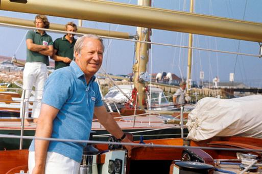 Edward Heath aboard his yacht Morning Cloud at Gosport, as three police forces are now investigating claims of child sex abuse involving the former prime minister. Photo: PA