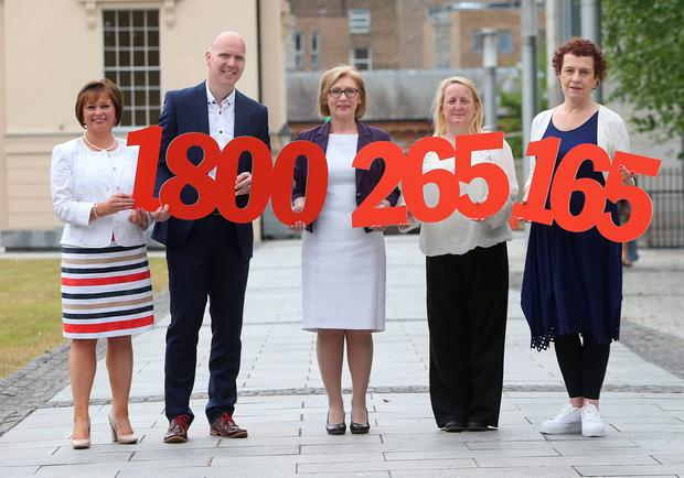 Launching the Leaving Cert results CAO Helpline 2015: Betty McLaughlin, president of the Institute of Guidance Counsellors; Oisin Masterson, Head of Brand and Marketing, Eircom; Jan O'Sullivan, Minister for Education and Skills; Lynda O'Shea, National Parents Council post primary; and Katherine Donnelly, Education Editor, Irish Independent