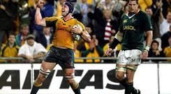 Mark Chisholm celebrates scoring a try against South Africa
