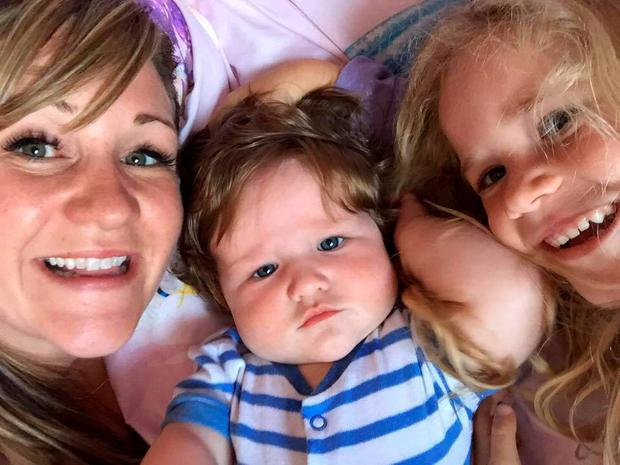 Baby Fergus pictured with his sister Ella and his mum Hayley. Photo: Facebook