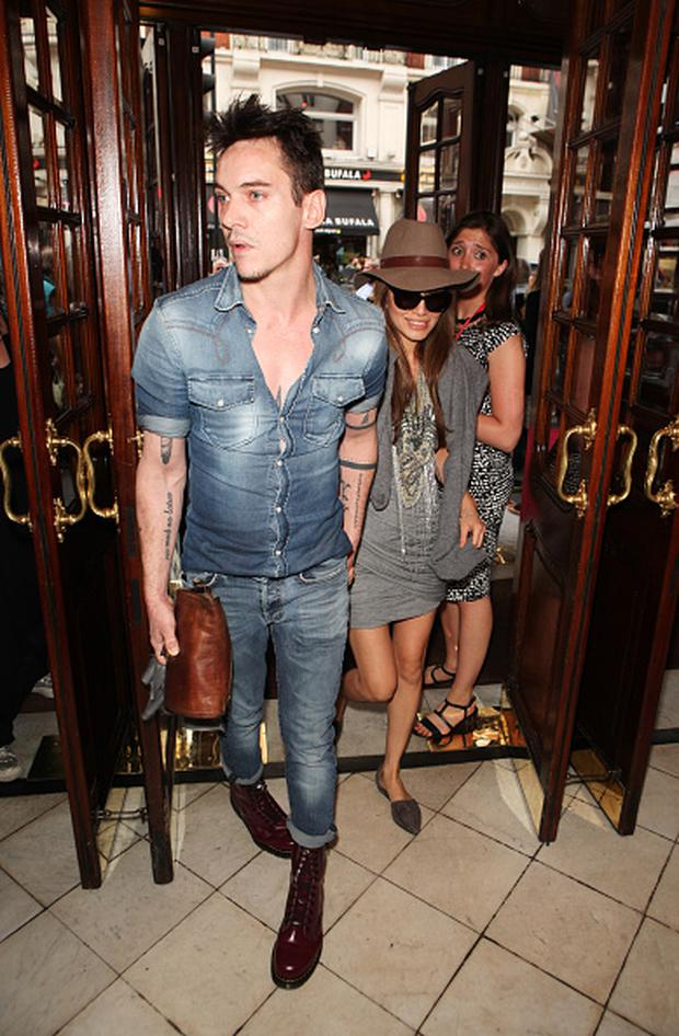 Jonathan Rhys Meyers (L) and Mara Lane arrive for the press night performance of
