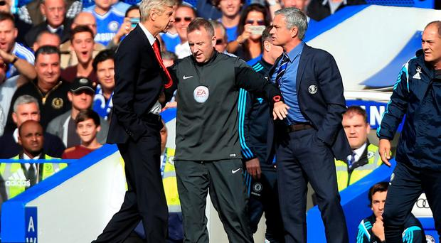 Chelsea manager Jose Mourinho (right) had a heated exchange with Arsenal manager Arsene Wenger last season.