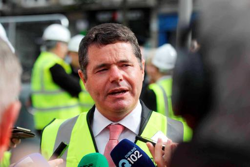 04/08/15 Minister for Transport,Tourism and Sport Paschal Donohue T.D pictured attending the launch of the main Luas track laying works on O Connell Street Dublin this morning? Pic Stephen Collins/Collins Photos