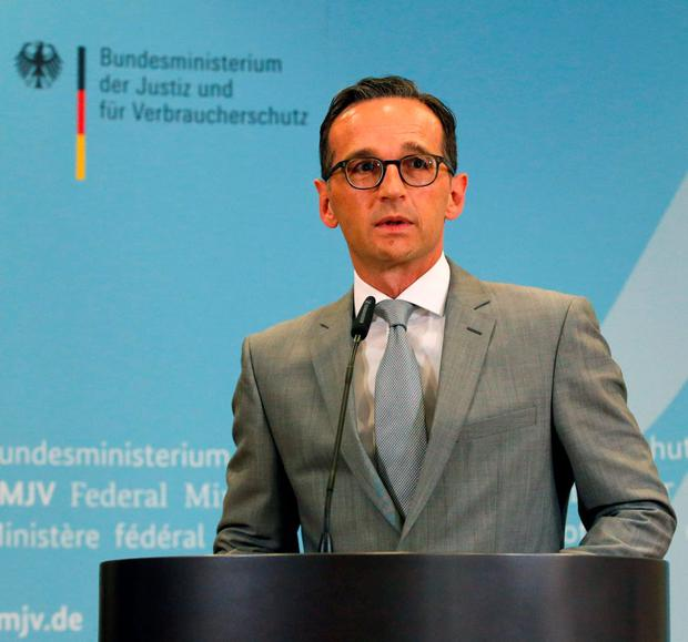 German Justice Minister Heiko Maas gives a statement to the media at the Ministry of Justice in Berlin, Germany, August 4, 2015. REUTERS/Fabrizio Bensch