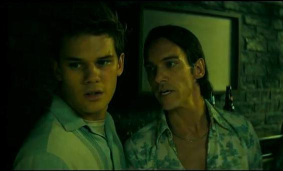 Jonathan Rhys Meyers and Jeremy Irvine in Stonewall