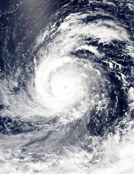 A visible-light image of Super typhoon Soudelor is seen in the Western Pacific Ocean in this NASA satellite image taken at 12:10 ET (04:10 GMT) August 4, 2015. REUTERS/NASA/Goddard's MODIS Rapid Response Team/Handout