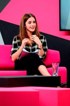 Emma Watson at Facebook's headquarters in London, where she took part in a live question and answer session about gender equality with Facebook fans, to mark International Women's Day. Press Association