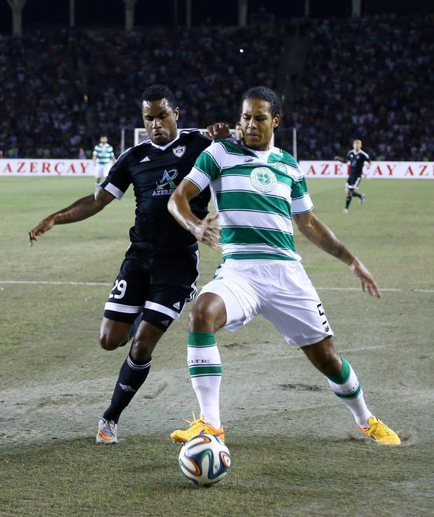 Rydell Poepon of FK Qarabag vies during the UEFA Europa League third qualifying round second leg match between FK Qarabag and Celtic in Baku