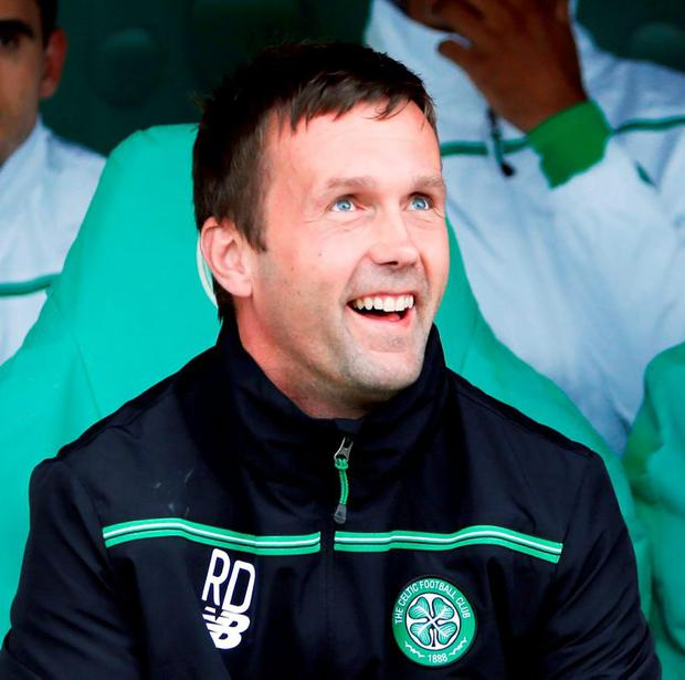 Celtic Manager Ronny Deila all smiles after his team came out on top in their Champion's League play-off