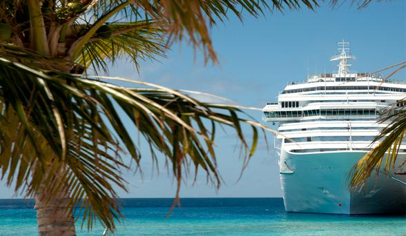 Stock Photo: Cruise ship at anchor.