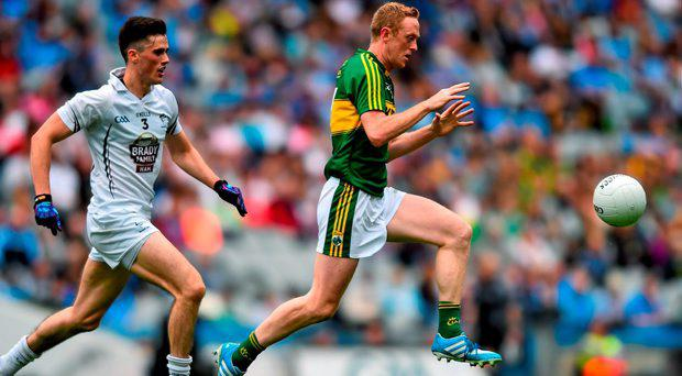 2 August 2015; Colm Cooper, Kerry, in action against Mick O'Grady, Kildare. GAA Football All-Ireland Senior Championship Quarter-Final, Kerry v Kildare. Croke Park, Dublin. Picture credit: Ramsey Cardy / SPORTSFILE