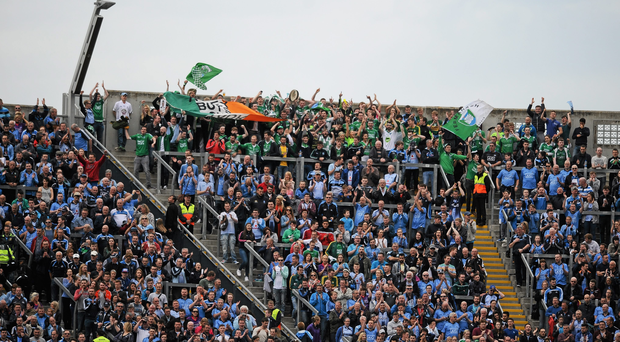 Fermanagh supporters at the top of hill 16 along with Dublin supporters during the All-Ireland quarter-final