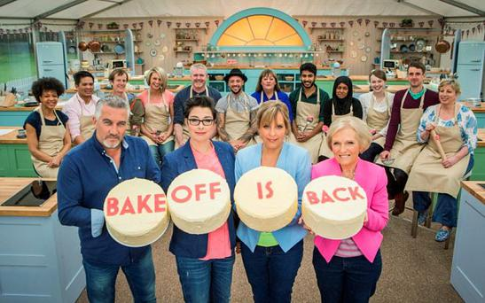 Paul Hollywood, Sue Perkins, Mel Giedroyc, Mary Berry, The Great British Bake Off contestants - (C) Love Productions - Photographer: Mark Bourdillon