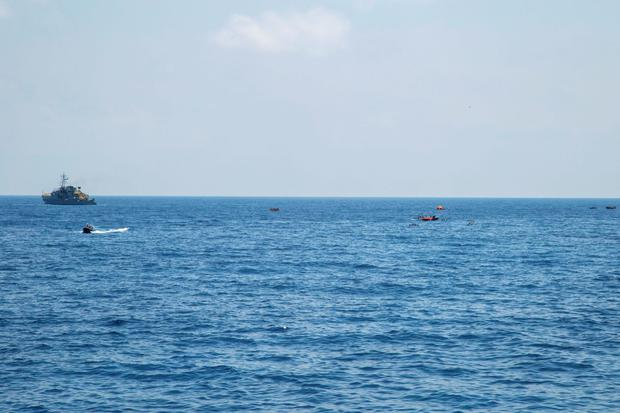 The scene of the capsizing and sinking of a migrant boat as seen from the deck of the Dignity I MSF search and rescue vessel which respnded to the emergency. (Photo: Marta Soszynska/MSF)