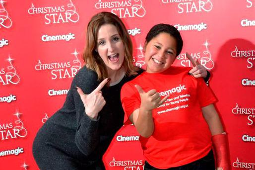 The Fall actress Bronagh Waugh with Patrick Waugh at launch of A Christmas Star, Cinemagic's first film