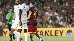 Lionel Messi escaped being sent off for Barcelona for this clash with Mapou Yanga-Mbiwa