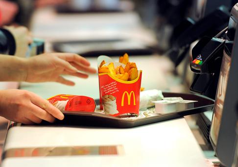 Food being served at McDonald's as the fast food company is to offer table service for the first time in the UK as it seeks to ward off competition from upmarket burger chains. Photo: Anthony Devlin/PA Wire
