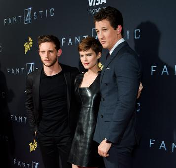 NEW YORK, NY - AUGUST 04: (L-R) Actors Jamie Bell, Miles Teller and Kate Mara attend the New York premiere of