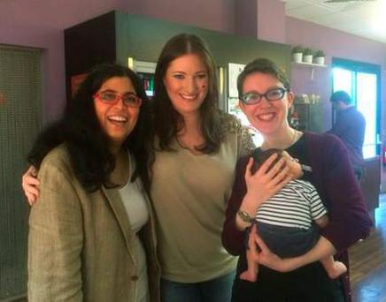 Dil Wickremasinghe with partner Anne Marie O'Toole and Midday Presenter Elaine Crowley (middle) and baby Phoenix