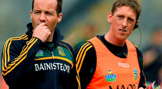 Meath manager Mick O'Dowd, left, and selector Trevor Giles