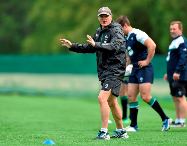 Ireland's head coach Joe Schmidt with his players during squad training at Carton House