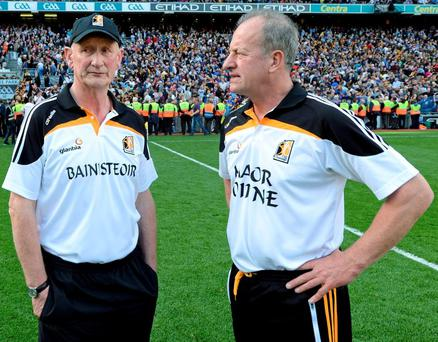 Kilkenny boss Brian Cody and Mick Dempsey on the pitch after last year's drawn All-Ireland final with Tipperary
