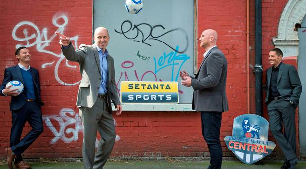 Presenter Conor Morris with pundits Kenny Cunningham, John Hartson and Matt Holland at the Setanta Sports studios in Dublin to mark the return of Premier League Central