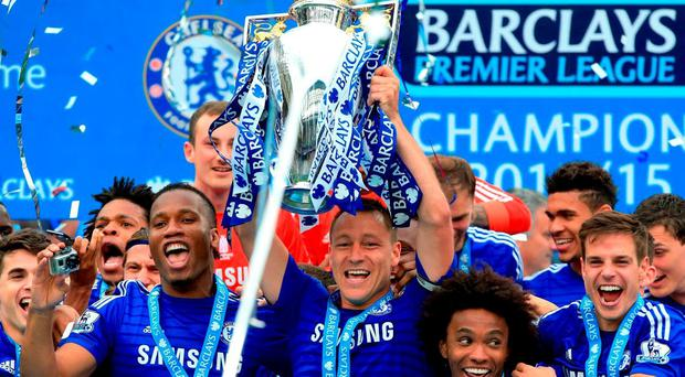 Chelsea celebrate after winning the Premier League last season