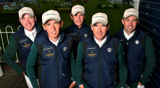 From left, Greg Broderick, Bertram Allen, Darragh Kenny, Conor Swail and Cian O'Connor will represent Ireland at the Aga Khan Cup