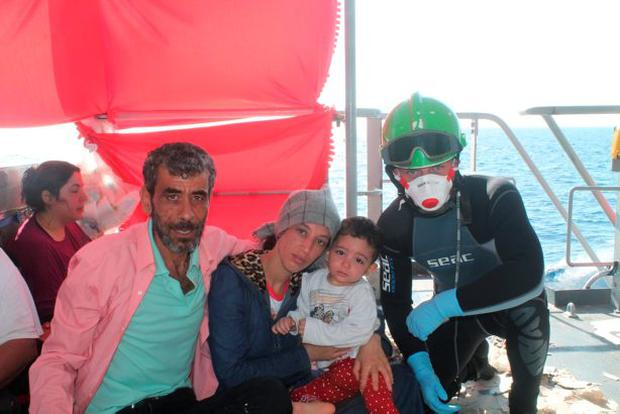 Some of the 367 rescued migrants on board the Le NIAMH en route to Palermo