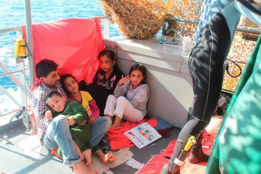 Some of the 367 rescued migrants on board the LENIAMH en route to Palermo