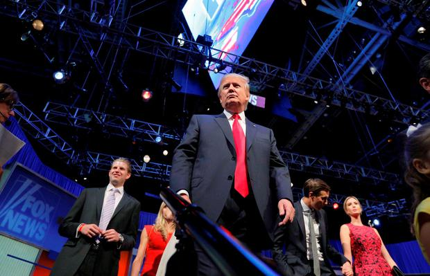 Republican 2016 U.S. presidential candidate and businessman Donald Trump leaves the stage at the end of the first official Republican presidential candidates debate of the 2016 U.S. presidential campaign in Cleveland, Ohio, August 6, 2015. REUTERS/Brian Snyder