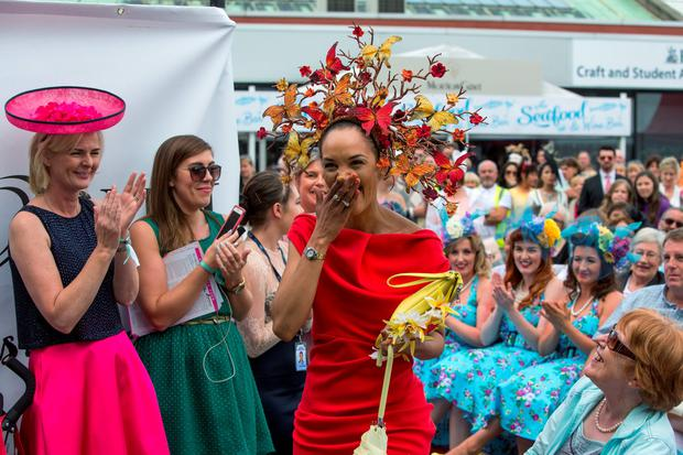Linda Malone winner of the most colourful on Ladies' Day at the Dublin Horse Show in the RDS, Dublin. Pic:Mark Condren
