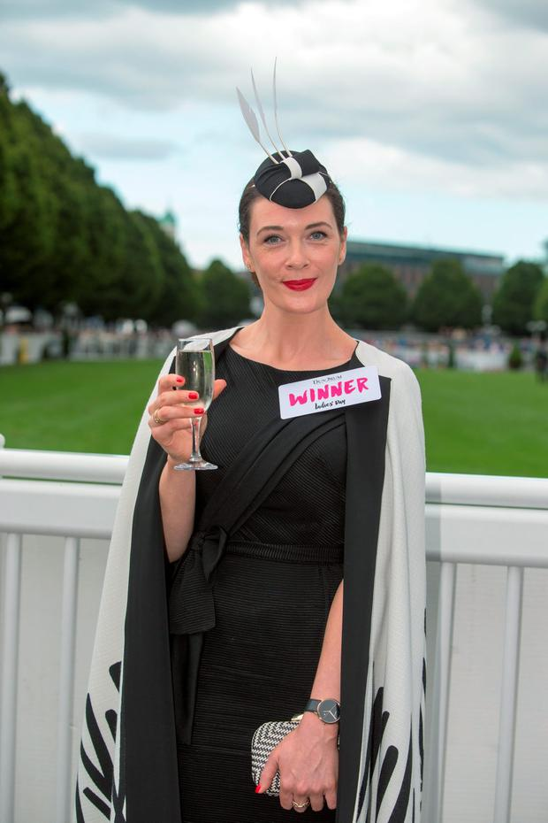 Laura Jayne Halton from Kildare winner of the best dressed lady at the Dublin Horse Show in the RDS, Dublin. Pic:Mark Condren