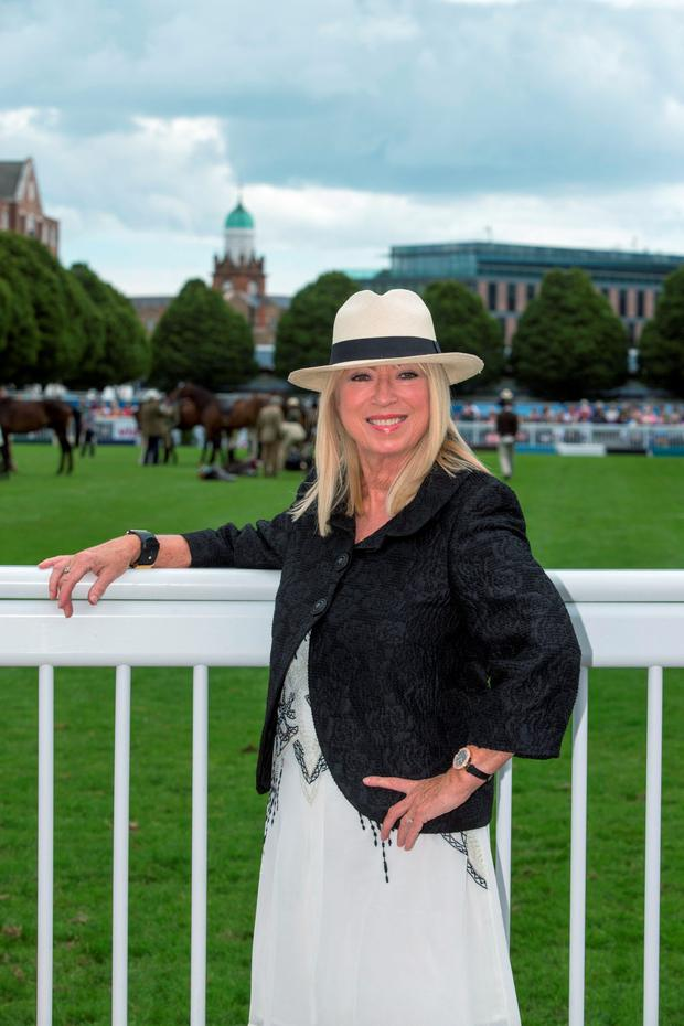 Anne Doyle enjoying Ladies' Day at the Dublin Horse Show in the RDS, Dublin. Pic:Mark Condren