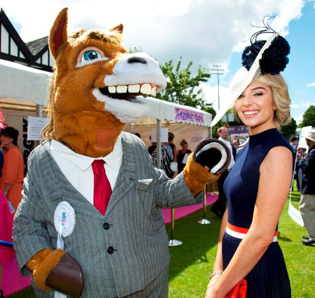 RDS Mascot with Best Dressed Judge Pippa O'Connor. Picture: Paul Sherwood